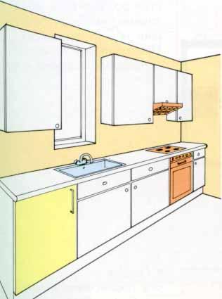 Кухня в одну линию