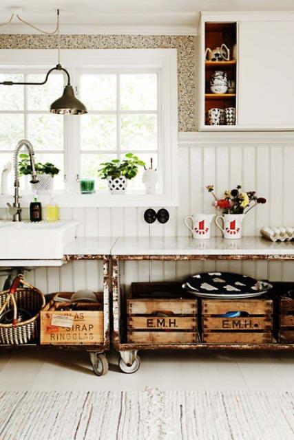 Оформление кухни в стиле винтаж.