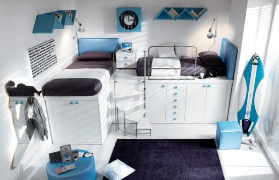 Функциональная мебель для маленькой детской комнаты.