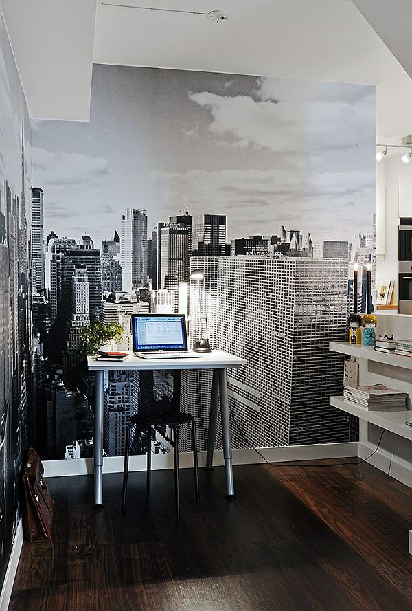 Проект квартиры в стиле хай-тек с неярким дизайном и фотообоями.