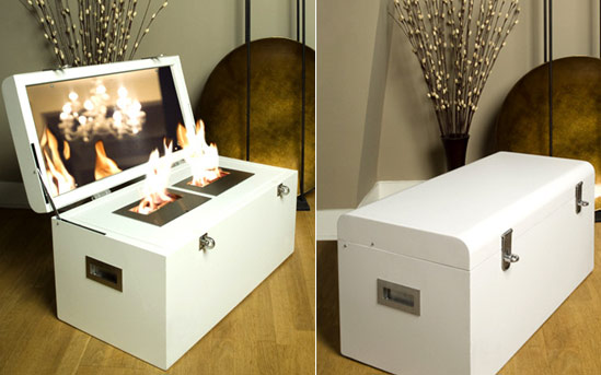 Портативный камин с биоэтаноловым огнем трансформирующийся в мебель