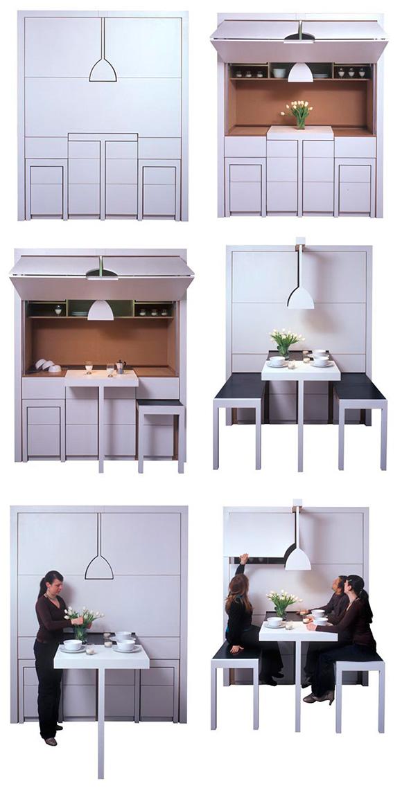 Раздвижная кухня, состоящая из стола, скамеек и буфета