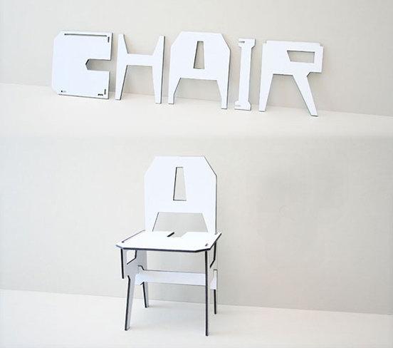 Собрать стул из букв