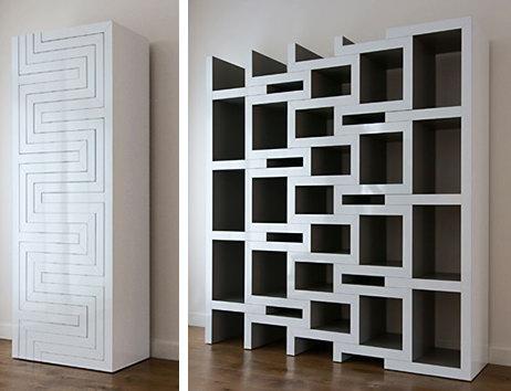 Книжный шкаф в виде раздвижных полок