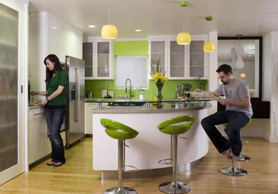Оформить интерьер кухни в зеленом цвете