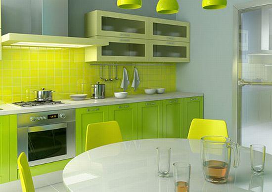 Интерьер кухни в зеленом цвете и зеленых оттенках