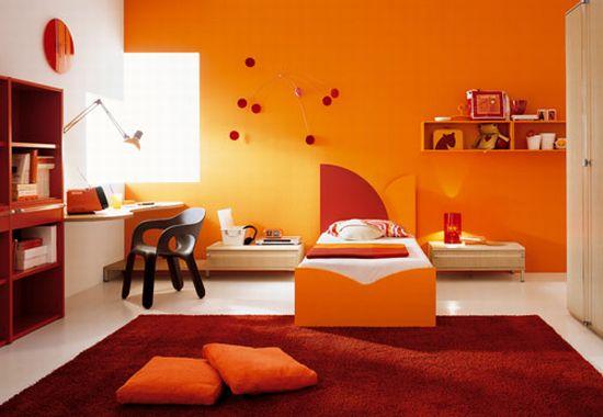 Оранжевый цвет в интерьере комнат