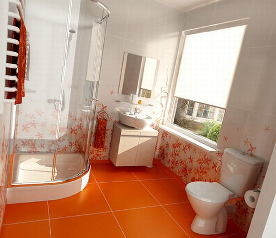 Оранжевый цвет в интерьере ванной комнаты
