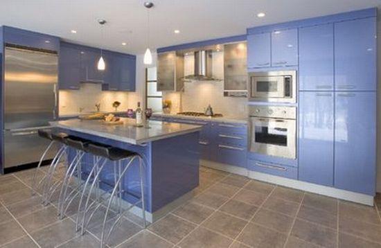 Интерьер кухни в голубом цвете и оттенках