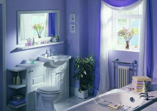Интерьер ванной комнаты в голубом цвете и оттенках