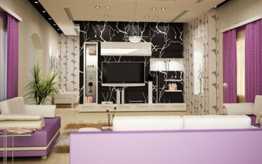 Фиолетовый цвет в интерьере прекрасно