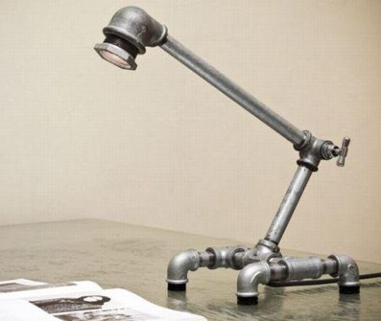 Настольная лампа из труб