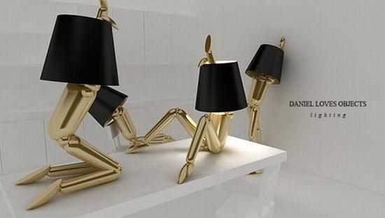 Лампы манекены с черными абажурами