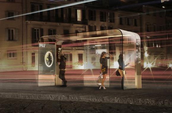 Автобусная остановка с навигатором