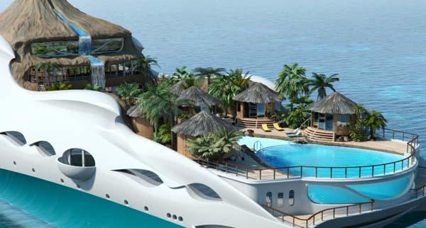 Тропический остров на яхте