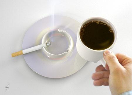 Чашечка и пепельница в одном