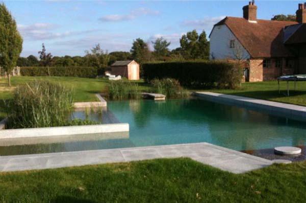 Бассейн с натуральной очисткой и естественным дизайном