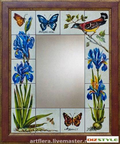 Зеркало Ирисы и цветы